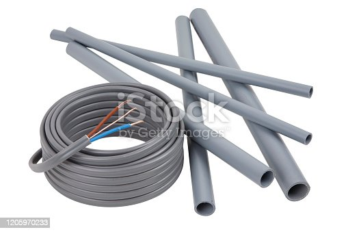 Electrical cables and pipes on a set of building plans, isolated on a white background with a drop shadow
