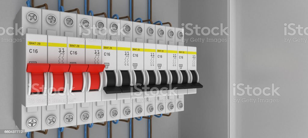 electrical circuit breakers 3d rendering stock photo more pictures rh istockphoto com