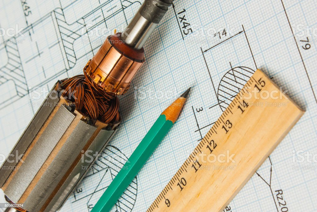 electrical components and stationery measuring tools stock photo