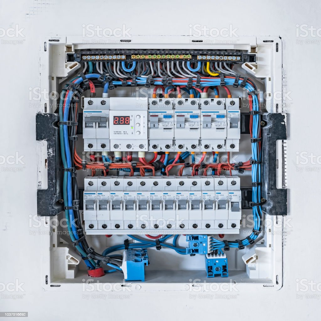 Electrical Control Cabinet At White Wall In House Stock Photo More Wiring Behind Walls Royalty Free