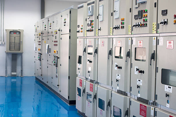 electrical control cabinet - control panel stock photos and pictures