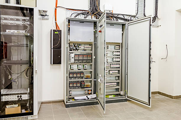 electrical control panel in distribution fuse box  stock photo