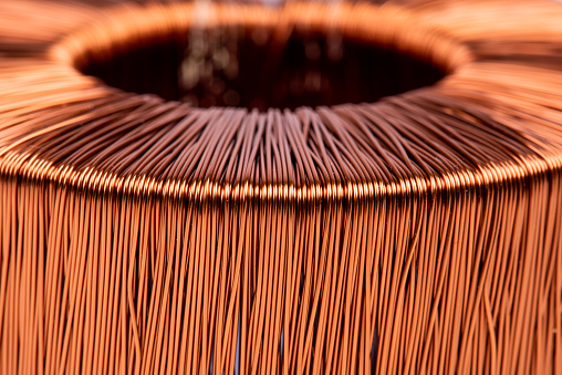 Macro of electrical copper coil transformer
