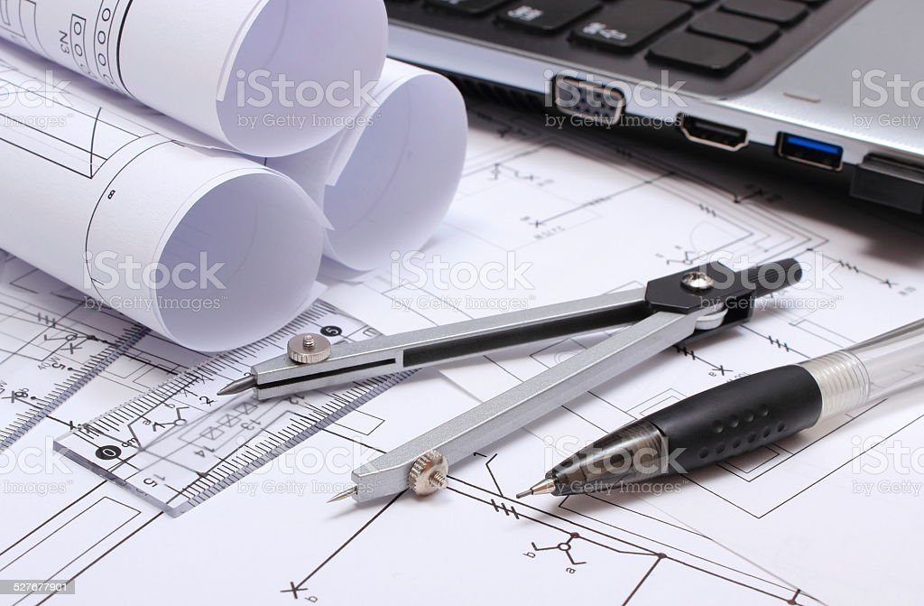 electrical diagrams accessories for drawing and laptop stock photo -  download image now - istock  istock