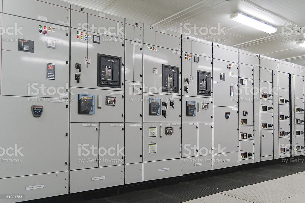 Electrical energy distribution substation stock photo