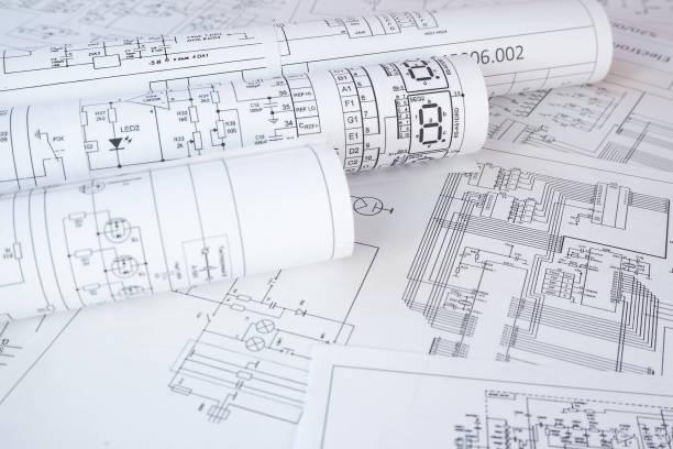 dibujos de ingeniería eléctrica - cianotipo plano fotografías e imágenes de stock