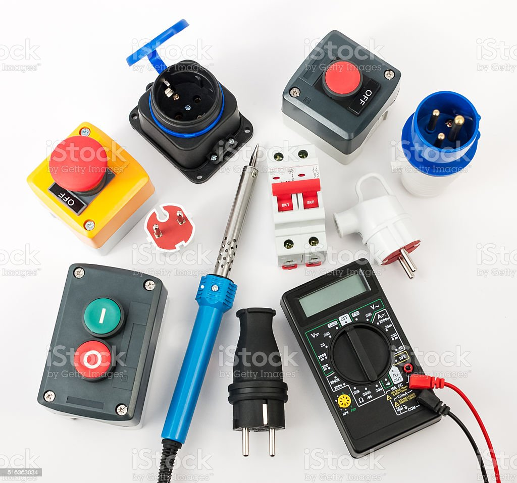 Electrical equipment and tools stock photo