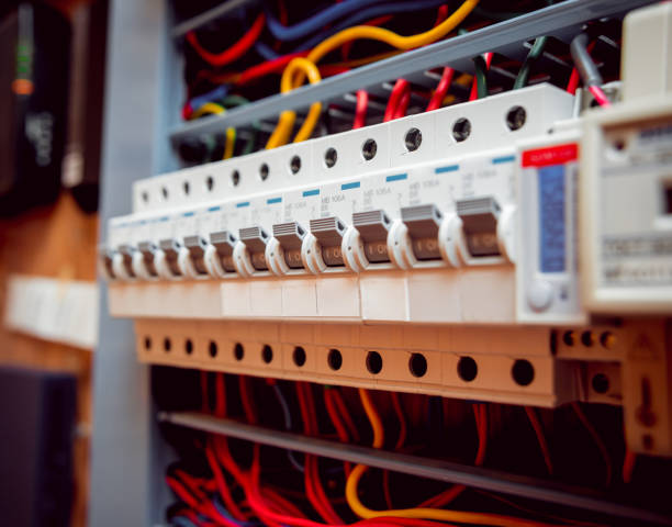 electrical equipment. background and texture - fuse box stock photos and pictures