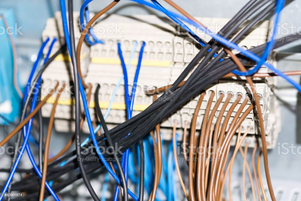 electrical equipment components installation in fuse box wiring and electrical equipment components installation in fuse box wiring and connections background and texture stock image