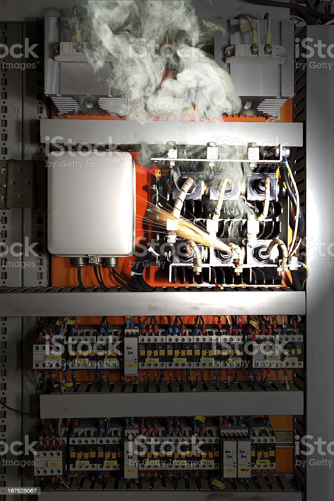 Electrical equipment malfunction stock photo