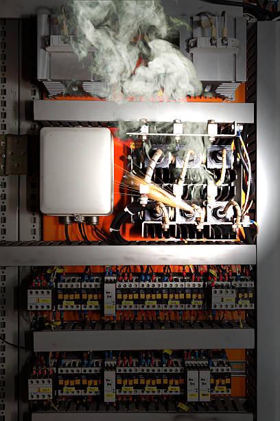 Electrical equipment malfunction stock photo