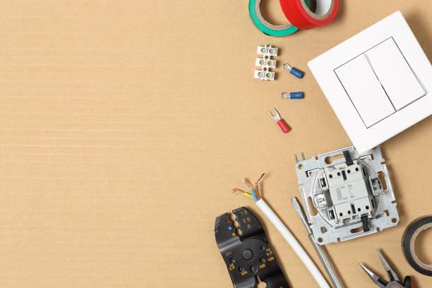 electrical equipment on cardboard stock photo