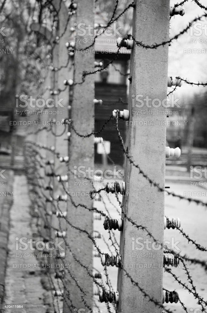 Elektrischen Zaun, umgibt das camp Auschwitz II-Birkenau – Foto