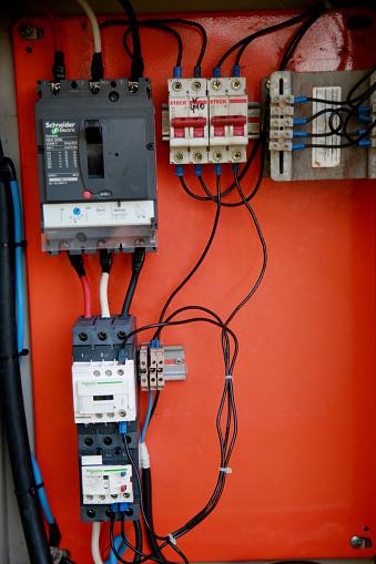mata de sao joao, bahia / brazil - november 8, 2020: control panel for fuses and electrical breakers at an oil exploration station in the city of Mata de Sao Joao.