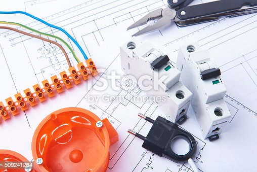 istock Electrical fuses and materials used for jobs in electricity. 509241264