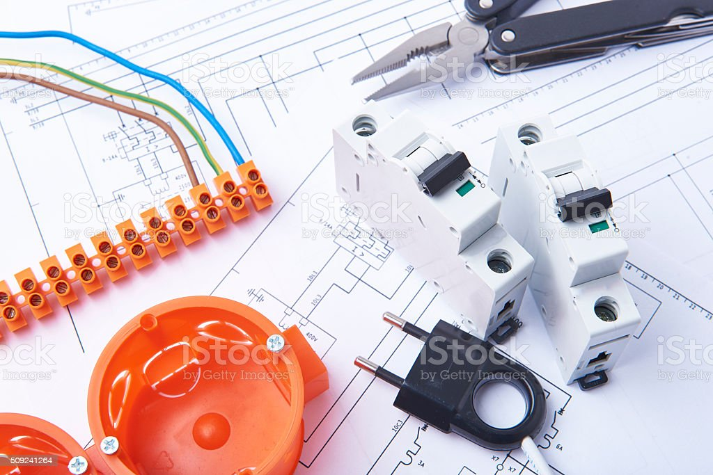 Electrical fuses and materials used for jobs in electricity. stock photo