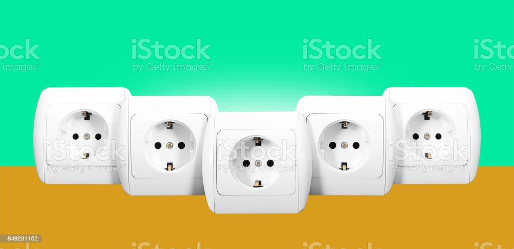 Electrical grid - Five sockets stock photo