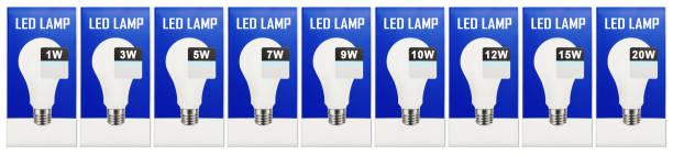 stromnetz - klumpen led lampen der verschiedenen macht - glühbirne e27 stock-fotos und bilder