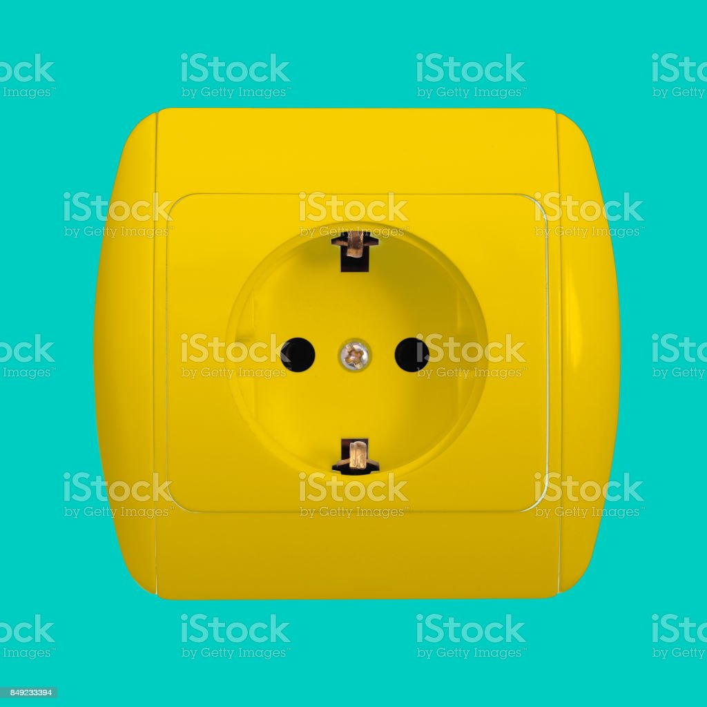 Electrical grid - Yellow socket stock photo
