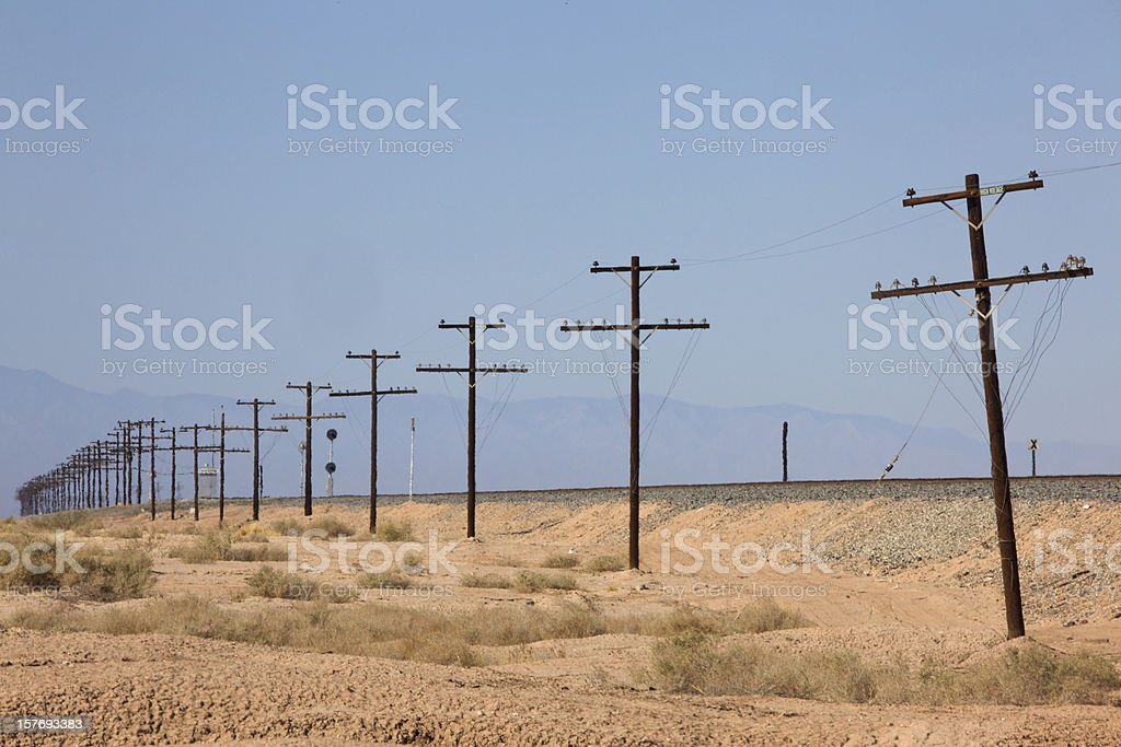 Electrical High Voltage Transmission Lines, Telephone Poles royalty-free stock photo