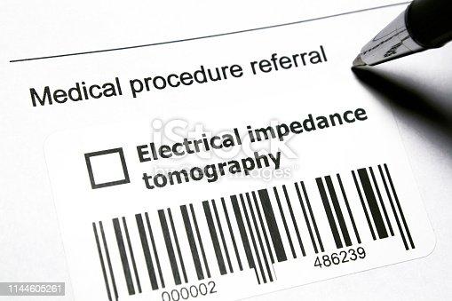Diagnostic medical procedure - Electrical impedance tomography