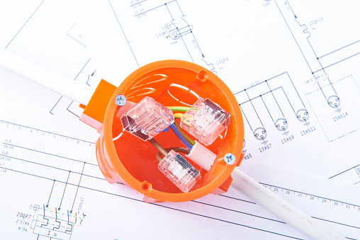 Electrical Junction Box On Electrical Diagrams Concept Of Energy Works Stock Photo Download Image Now Istock