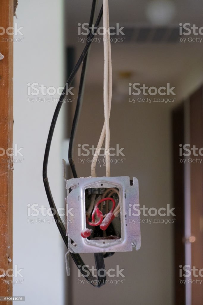 Electrical Junction Box with Exposed Wires stock photo