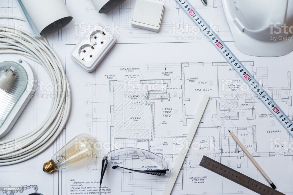 Electrical Master Equipment On House Plans. stock photo