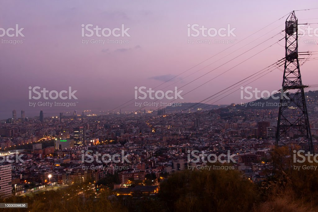 electrical network is starting to illuminate barcelona city