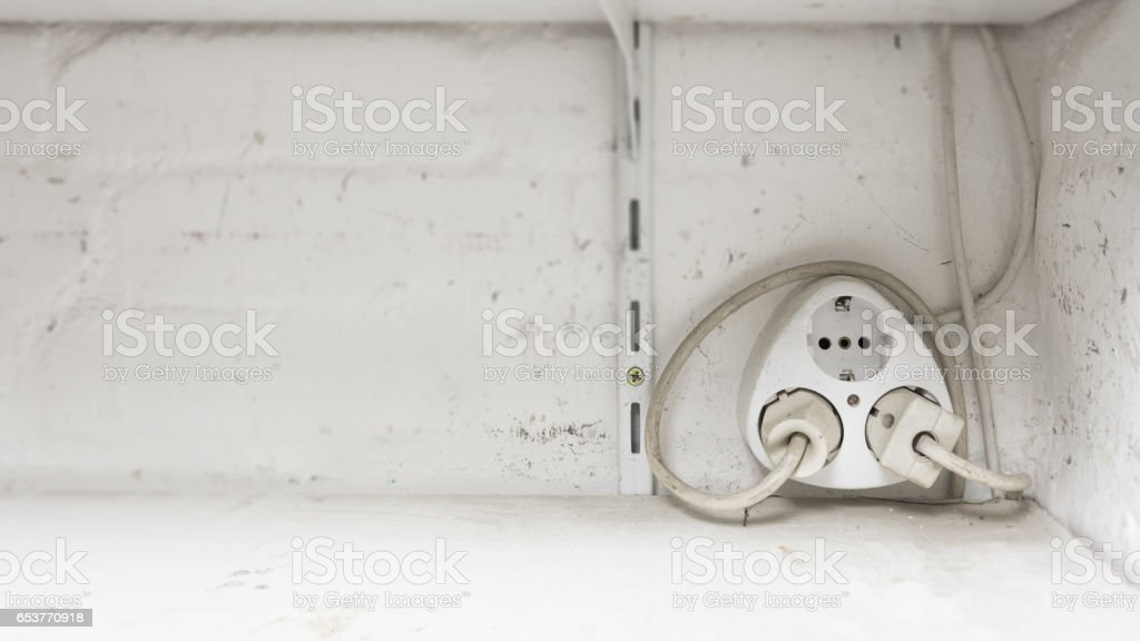 Electrical Outlet Multi Plug In An Old House 2 Pin Europe Stock ...