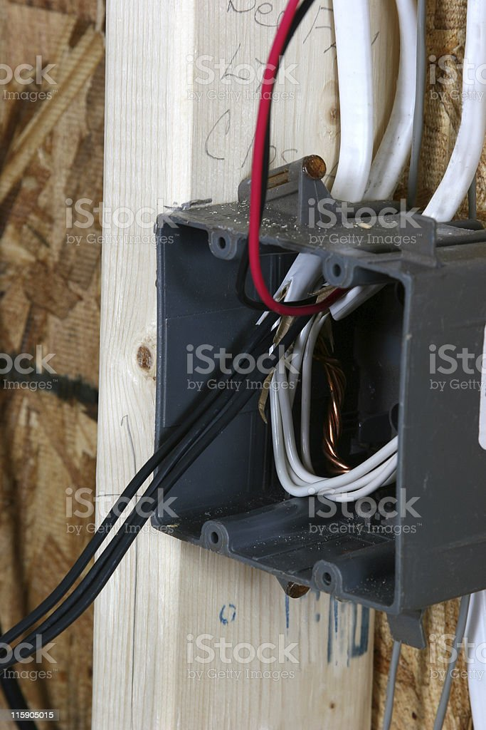 Electrical outlet, plug box in new construction home. royalty-free stock photo
