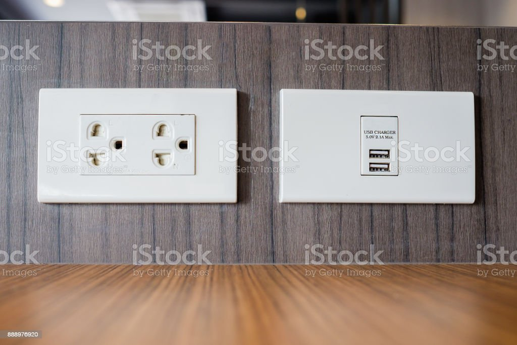 Electrical outlet with built in USB charger stock photo