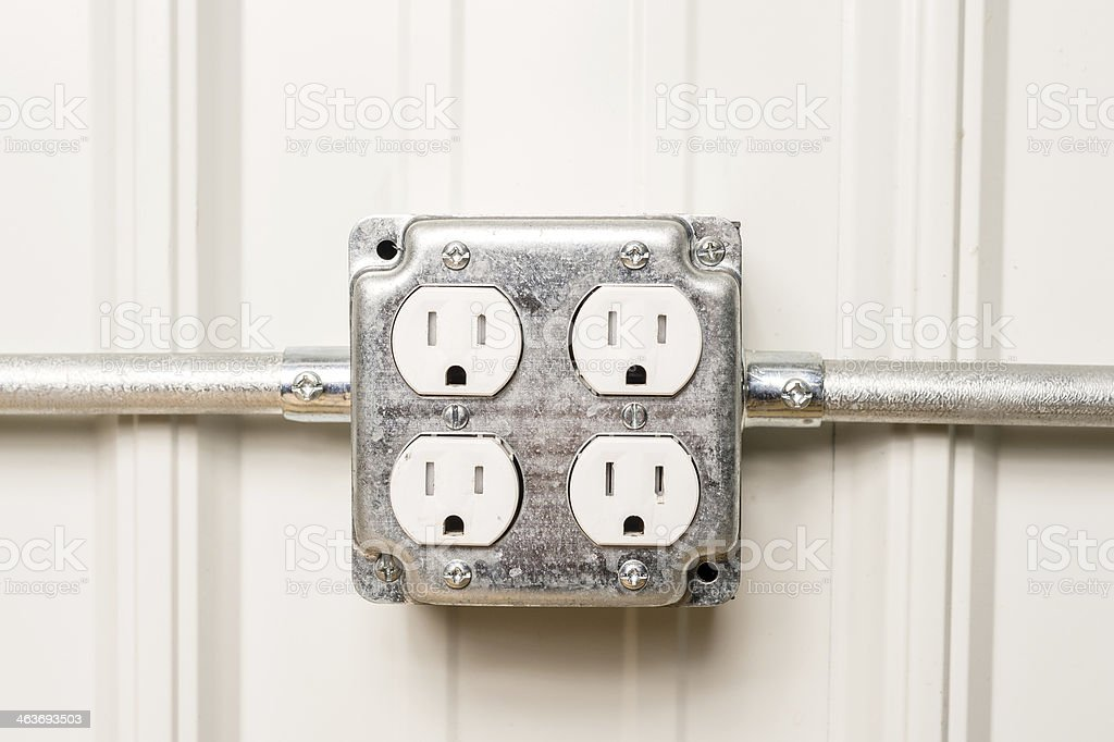 Electrical Outlet With Conduit stock photo