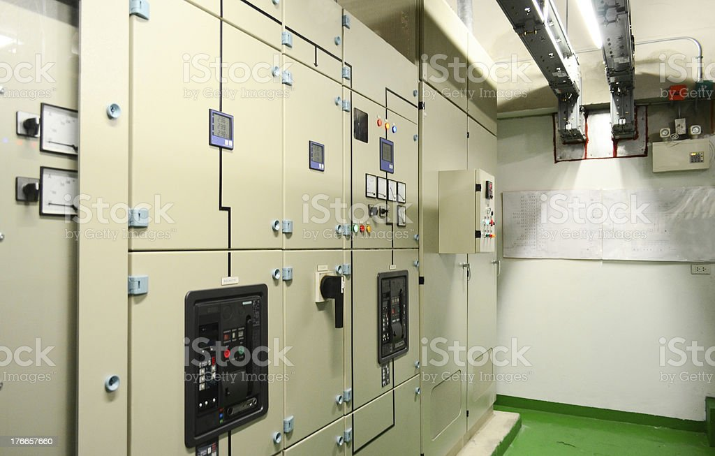 Electrical panel at a assembly line factory. Controls and switches. royalty-free stock photo