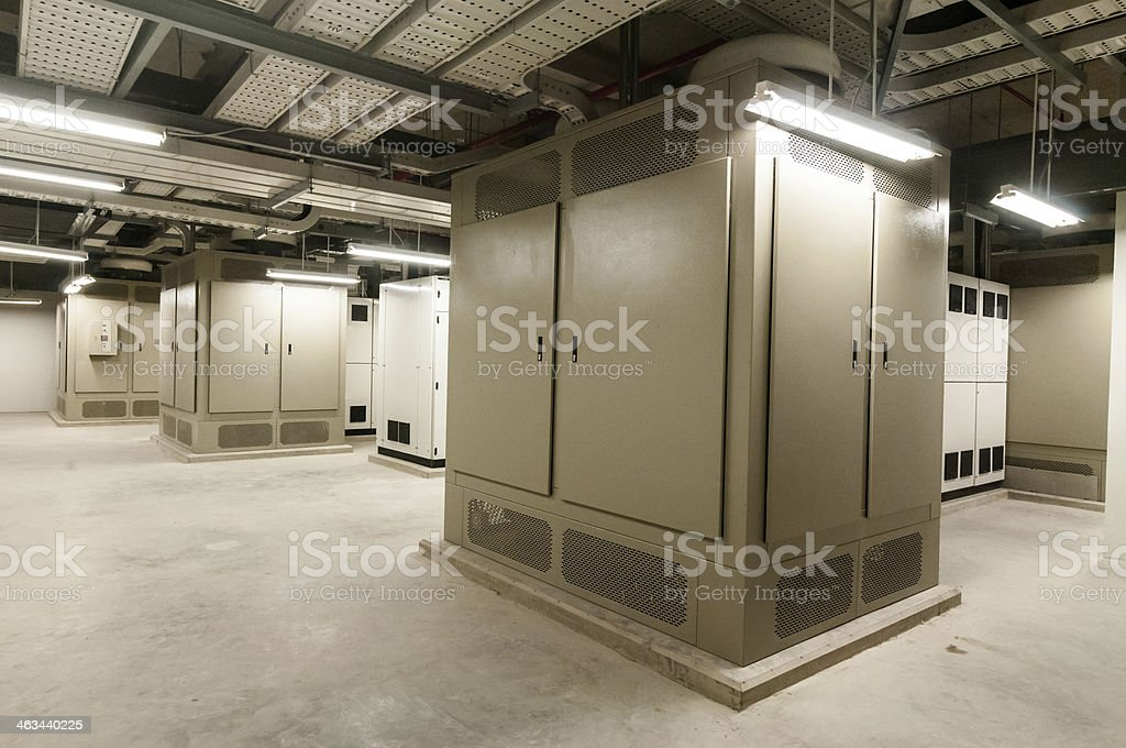 Electrical panel at a assembly line factory. Controls and switches. stock photo