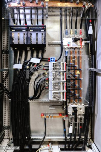 istock Electrical panel with fuses and contactors 504370195
