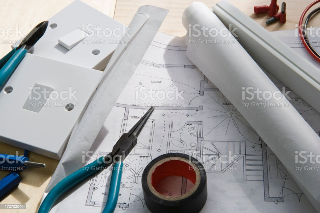 Electrical planning stock photo