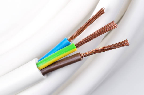 Electrical Power Cable Macro Photo Stock