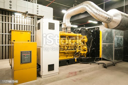 Electrical power generator in large building interior
