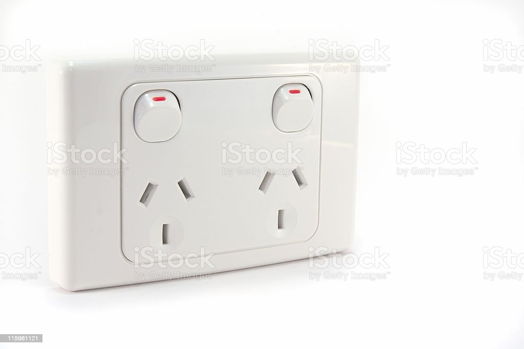 Electrical Power Outlet With Two Plugs And Two Switches Stock Photo ...