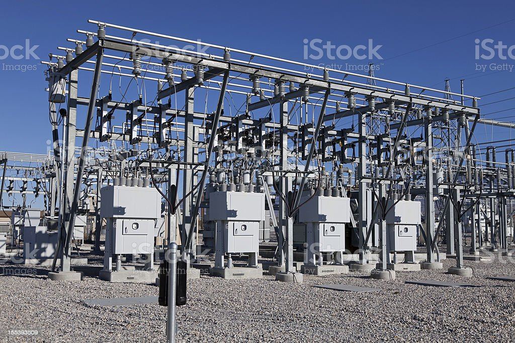 Electrical Power sub-station stock photo