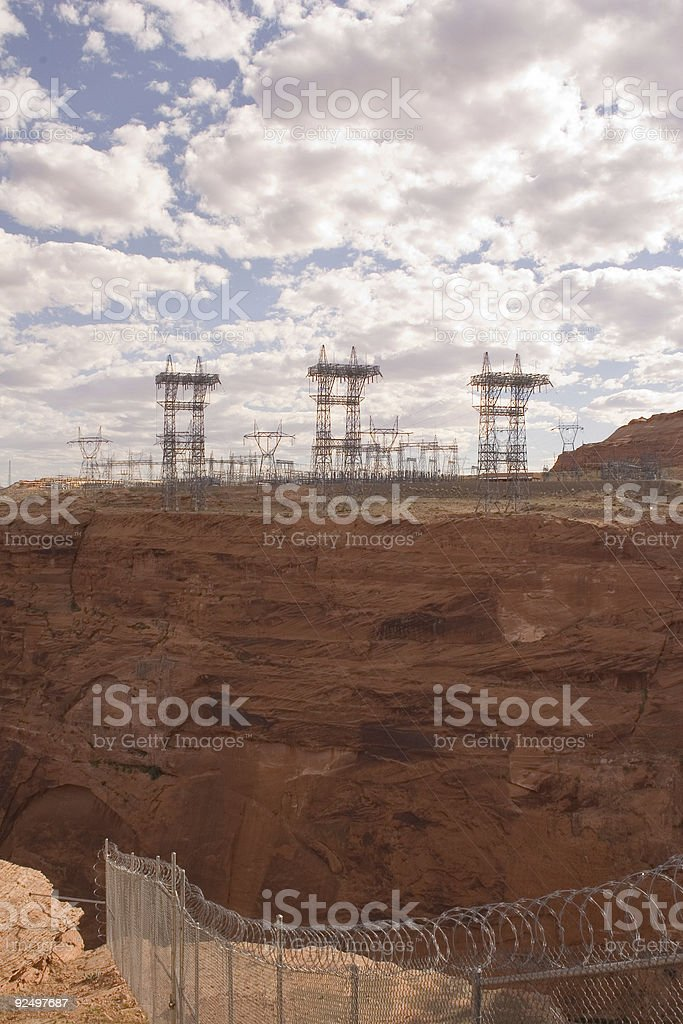 Electrical power towers and cables at Glen Canyon (vertical orie royalty-free stock photo