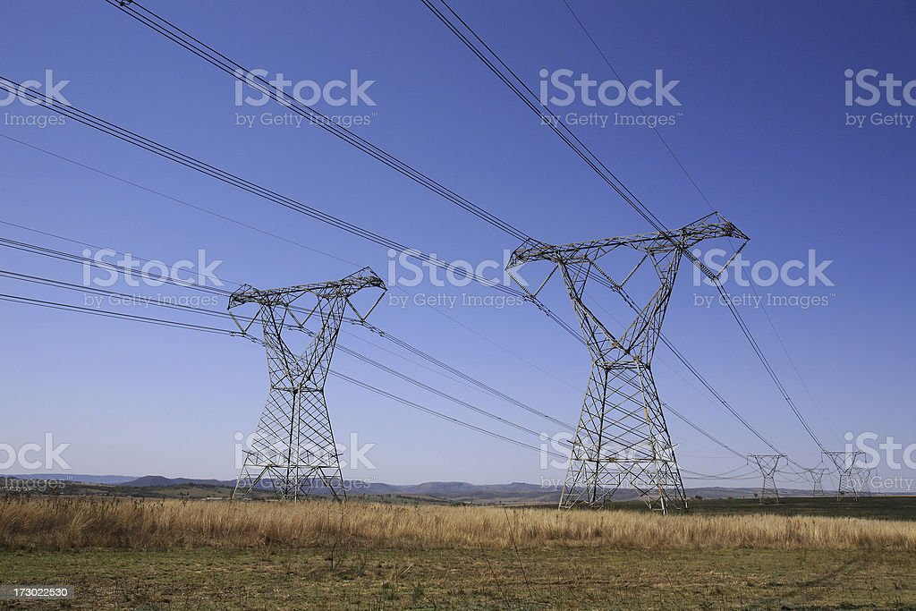 Electrical pylons in South Africa royalty-free stock photo