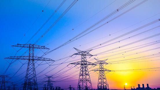 Electrical Pylons near Jabel Ali, Dubai, United Arab Emirates