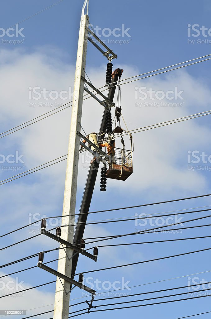 Electrical repairs by electricians royalty-free stock photo