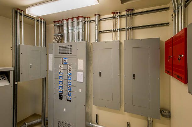 electrical room - fuse box stock photos and pictures
