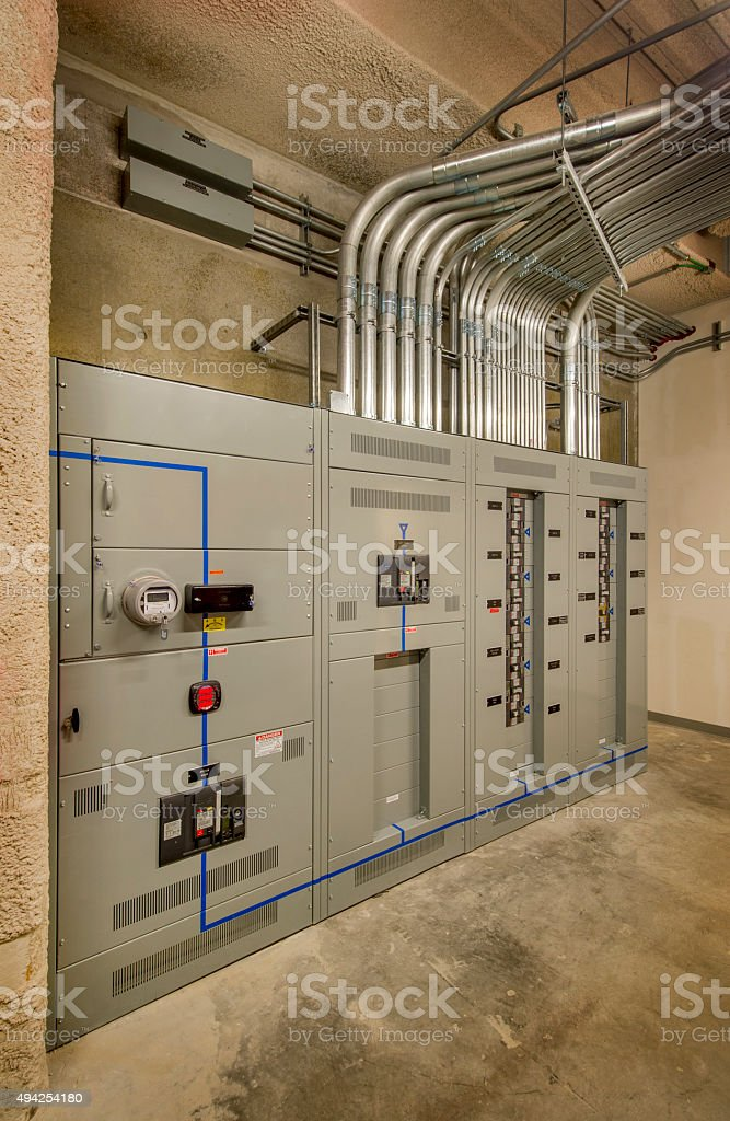 Electrical Room With Breaker Panel And Service Entrance Stock Photo ...