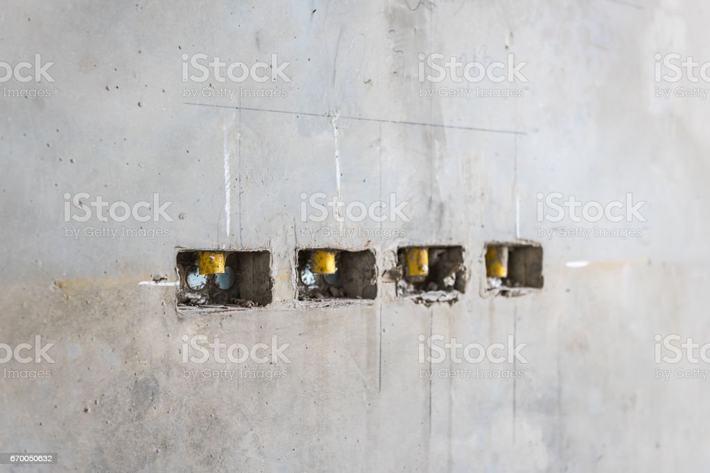 Electrical Socket Hole On Precat Concret Wall Outlet ... on