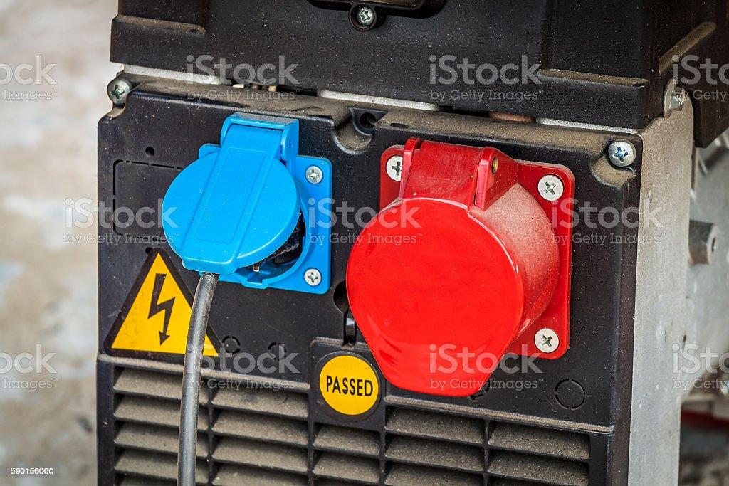 Electrical sockets closeup stock photo