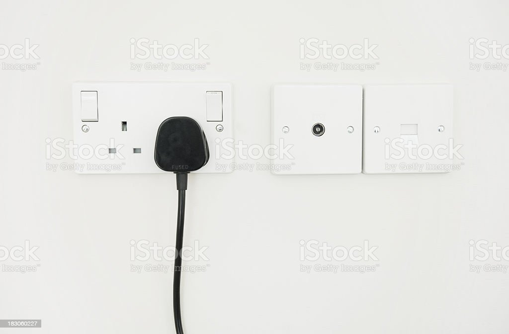 Electrical sockets with plug royalty-free stock photo